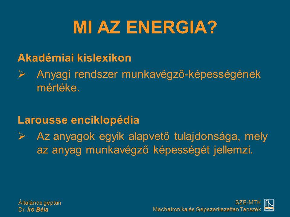 Általános géptan Dr. Író Béla SZE-MTK Mechatronika és Gépszerkezettan Tanszék MI AZ ENERGIA? Akadémiai kislexikon  Anyagi rendszer munkavégző-képessé