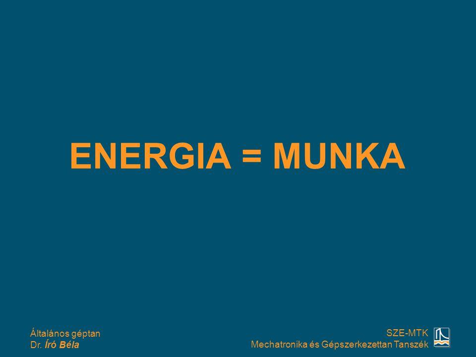 Általános géptan Dr. Író Béla SZE-MTK Mechatronika és Gépszerkezettan Tanszék ENERGIA = MUNKA