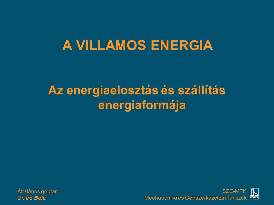 Általános géptan Dr. Író Béla SZE-MTK Mechatronika és Gépszerkezettan Tanszék A VILLAMOS ENERGIA Az energiaelosztás és szállítás energiaformája