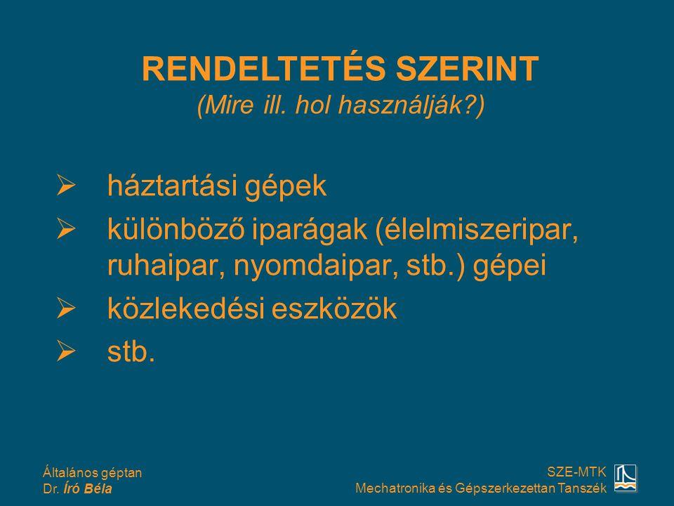 Általános géptan Dr. Író Béla SZE-MTK Mechatronika és Gépszerkezettan Tanszék hháztartási gépek kkülönböző iparágak (élelmiszeripar, ruhaipar, nyo
