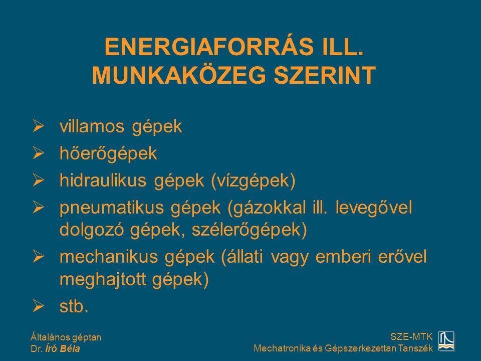 Általános géptan Dr. Író Béla SZE-MTK Mechatronika és Gépszerkezettan Tanszék vvillamos gépek hhőerőgépek hhidraulikus gépek (vízgépek) ppneum