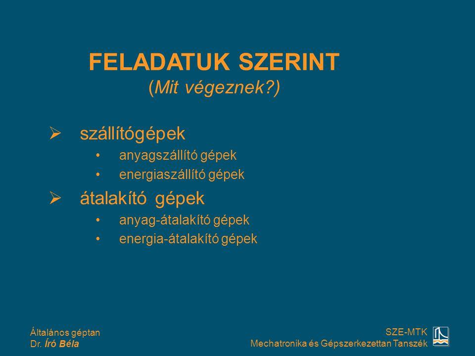 Általános géptan Dr. Író Béla SZE-MTK Mechatronika és Gépszerkezettan Tanszék  szállítógépek •anyagszállító gépek •energiaszállító gépek  átalakító