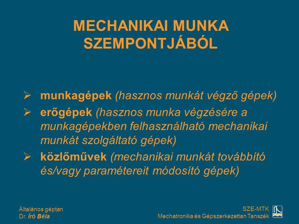 Általános géptan Dr. Író Béla SZE-MTK Mechatronika és Gépszerkezettan Tanszék  munkagépek (hasznos munkát végző gépek)  erőgépek (hasznos munka végz