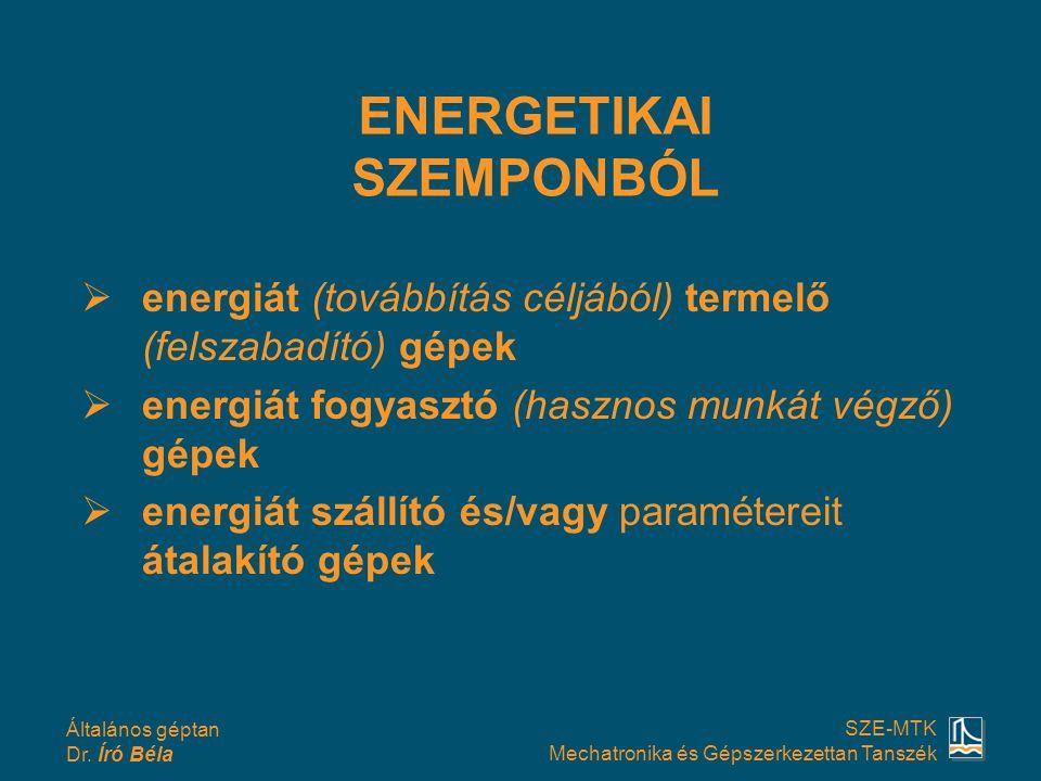 Általános géptan Dr. Író Béla SZE-MTK Mechatronika és Gépszerkezettan Tanszék  energiát (továbbítás céljából) termelő (felszabadító) gépek  energiát