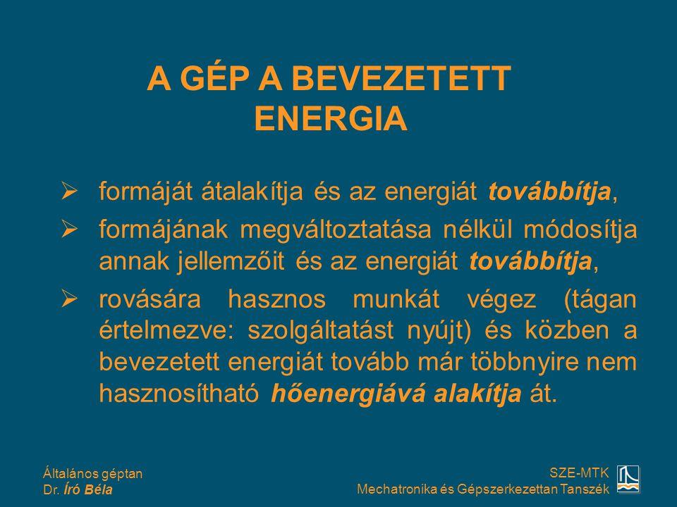 Általános géptan Dr. Író Béla SZE-MTK Mechatronika és Gépszerkezettan Tanszék  formáját átalakítja és az energiát továbbítja,  formájának megváltozt