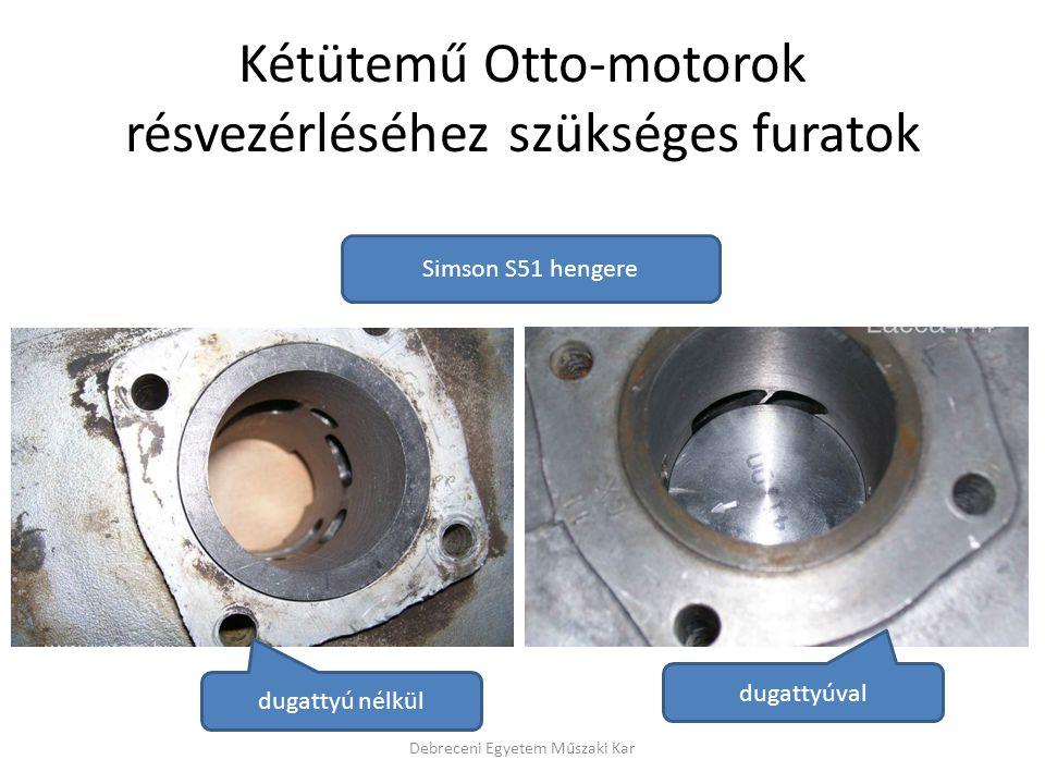Kétütemű Otto-motorok résvezérléséhez szükséges furatok Debreceni Egyetem Műszaki Kar dugattyú nélkül dugattyúval Simson S51 hengere