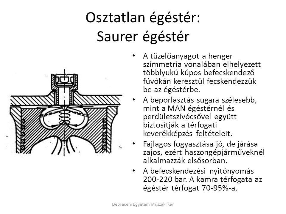 Osztatlan égéstér: Saurer égéstér • A tüzelőanyagot a henger szimmetria vonalában elhelyezett többlyukú kúpos befecskendező fúvókán keresztül fecskend