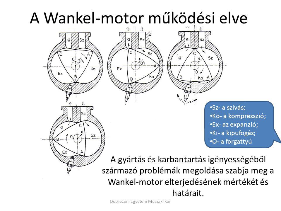A Wankel-motor működési elve Debreceni Egyetem Műszaki Kar • Sz- a szívás; • Ko- a kompresszió; • Ex- az expanzió; • Ki- a kipufogás; • O- a forgattyú