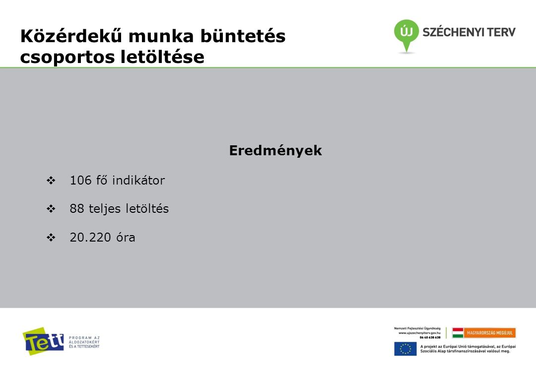 Közérdekű munka büntetés csoportos letöltése Eredmények  106 fő indikátor  88 teljes letöltés  20.220 óra