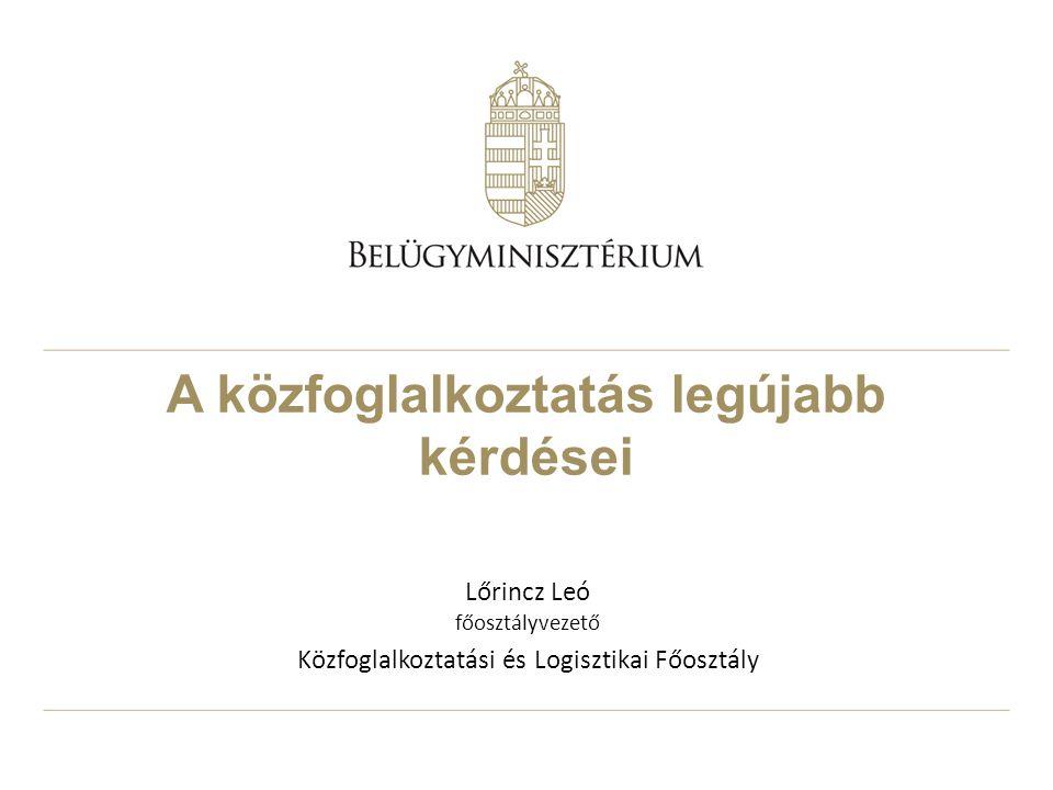 A közfoglalkoztatás legújabb kérdései Lőrincz Leó főosztályvezető Közfoglalkoztatási és Logisztikai Főosztály