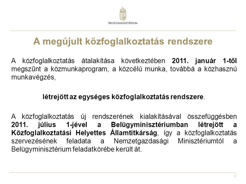 3 •A közfoglalkoztatás rendszerének megszervezéséért és a közfoglalkoztatás koordinációjáért a Belügyminisztérium felel.