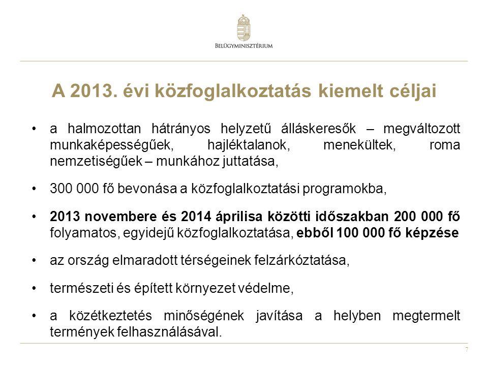 7 A 2013. évi közfoglalkoztatás kiemelt céljai •a halmozottan hátrányos helyzetű álláskeresők – megváltozott munkaképességűek, hajléktalanok, menekült