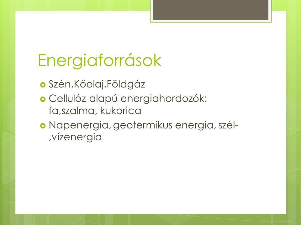 Energiaforrások  Szén,Kőolaj,Földgáz  Cellulóz alapú energiahordozók: fa,szalma, kukorica  Napenergia, geotermikus energia, szél-,vízenergia