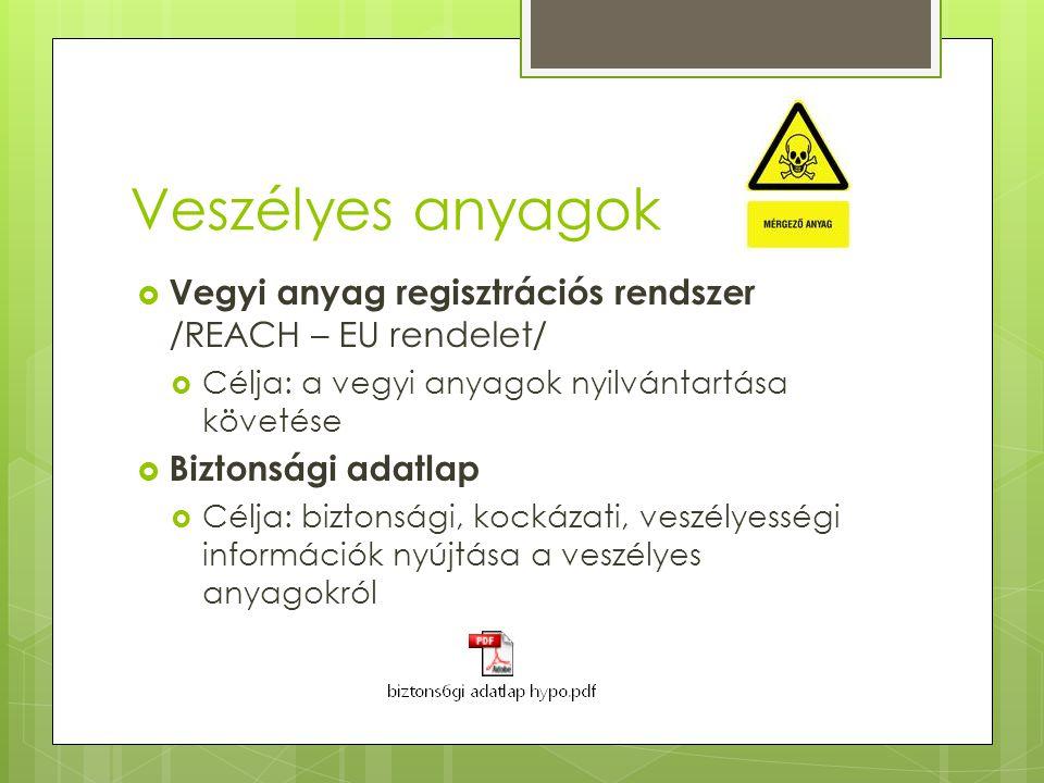 Veszélyes anyagok  Vegyi anyag regisztrációs rendszer /REACH – EU rendelet/  Célja: a vegyi anyagok nyilvántartása követése  Biztonsági adatlap  C