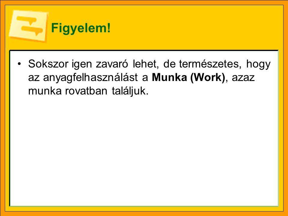 Figyelem! •Sokszor igen zavaró lehet, de természetes, hogy az anyagfelhasználást a Munka (Work), azaz munka rovatban találjuk.