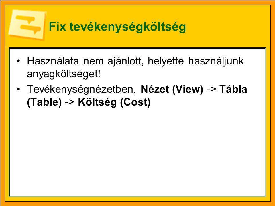 Fix tevékenységköltség •Használata nem ajánlott, helyette használjunk anyagköltséget! •Tevékenységnézetben, Nézet (View) -> Tábla (Table) -> Költség (