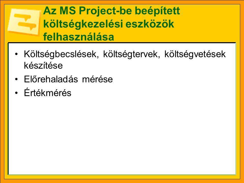 Az MS Project-be beépített költségkezelési eszközök felhasználása •Költségbecslések, költségtervek, költségvetések készítése •Előrehaladás mérése •Ért