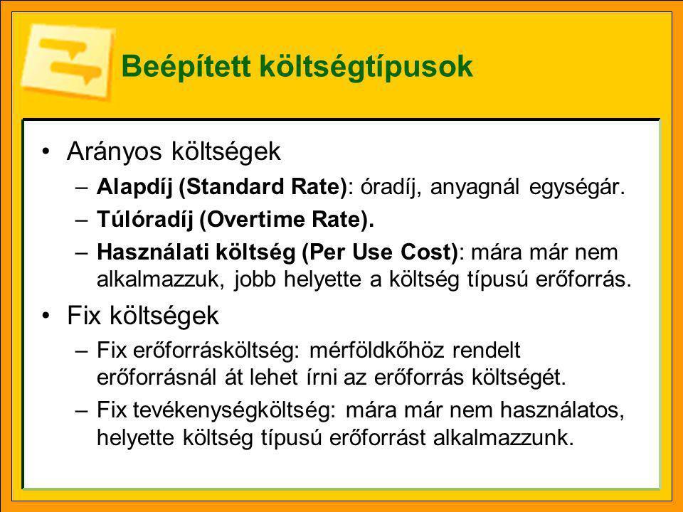 Beépített költségtípusok •Arányos költségek –Alapdíj (Standard Rate): óradíj, anyagnál egységár. –Túlóradíj (Overtime Rate). –Használati költség (Per