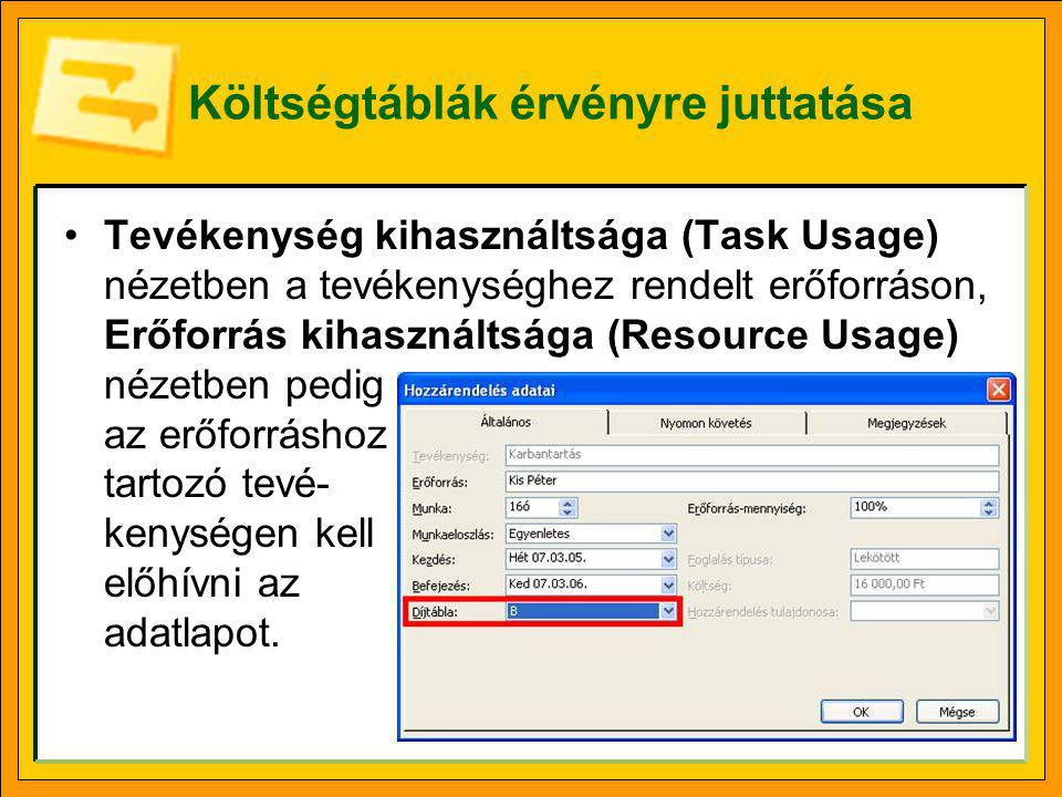 Költségtáblák érvényre juttatása •Tevékenység kihasználtsága (Task Usage) nézetben a tevékenységhez rendelt erőforráson, Erőforrás kihasználtsága (Res