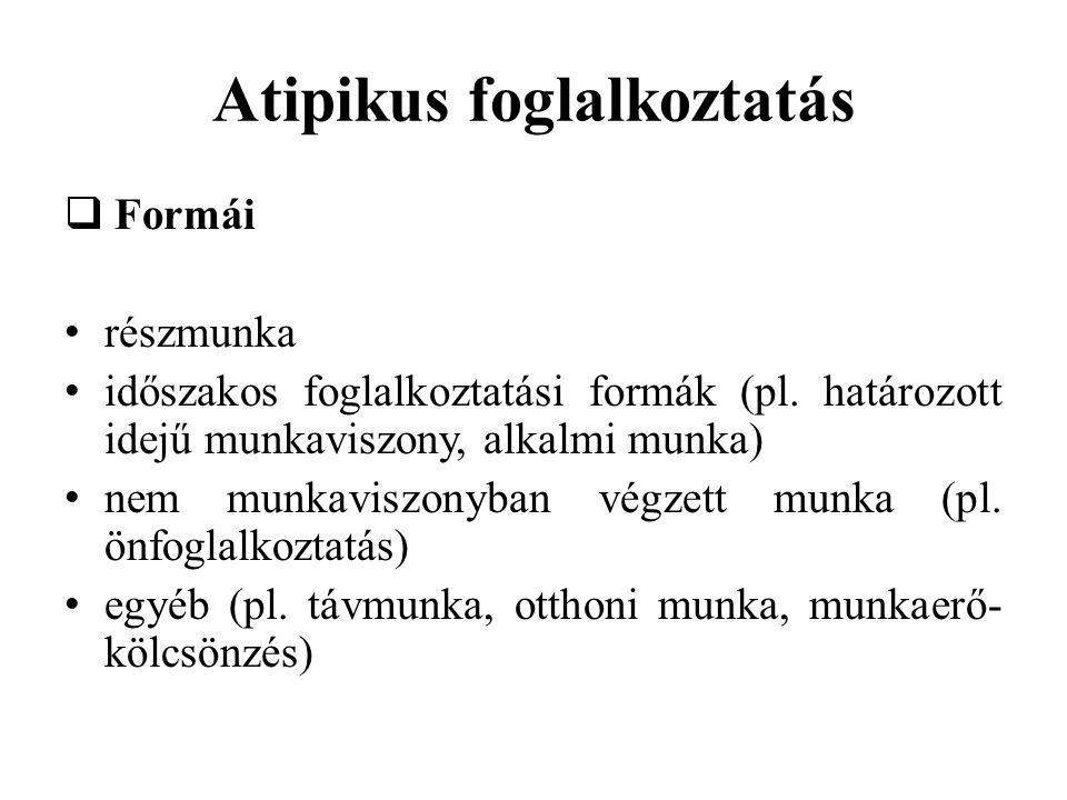 Atipikus foglalkoztatás  Formái • részmunka • időszakos foglalkoztatási formák (pl. határozott idejű munkaviszony, alkalmi munka) • nem munkaviszonyb