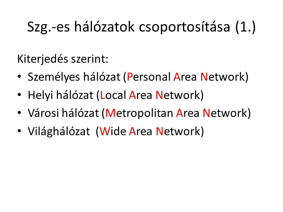 Szg.-es hálózatok csoportosítása (1.) Kiterjedés szerint: • Személyes hálózat (Personal Area Network) • Helyi hálózat (Local Area Network) • Városi hálózat (Metropolitan Area Network) • Világhálózat (Wide Area Network)