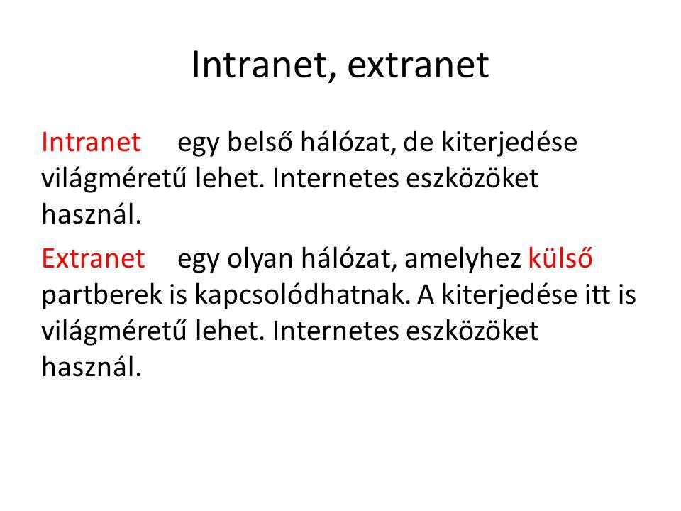 Intranet, extranet Intranetegy belső hálózat, de kiterjedése világméretű lehet. Internetes eszközöket használ. Extranetegy olyan hálózat, amelyhez kül