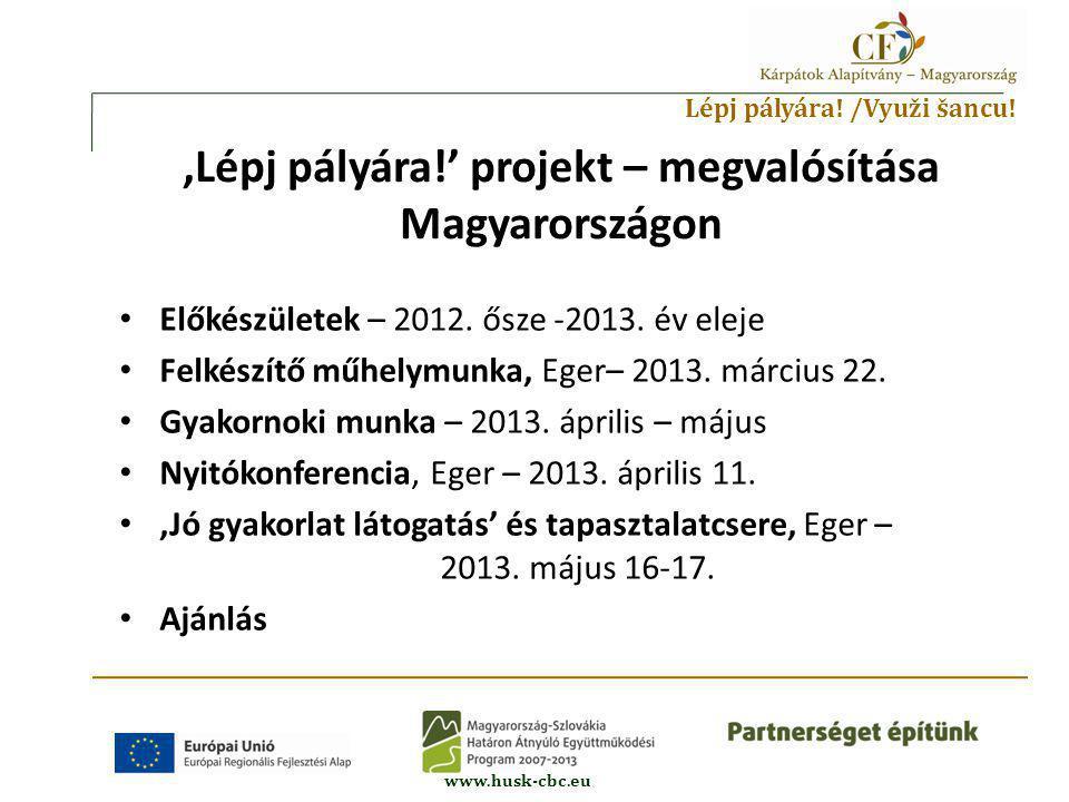 Lépj pályára. /Využi šancu. www.husk-cbc.eu • Előkészületek – 2012.