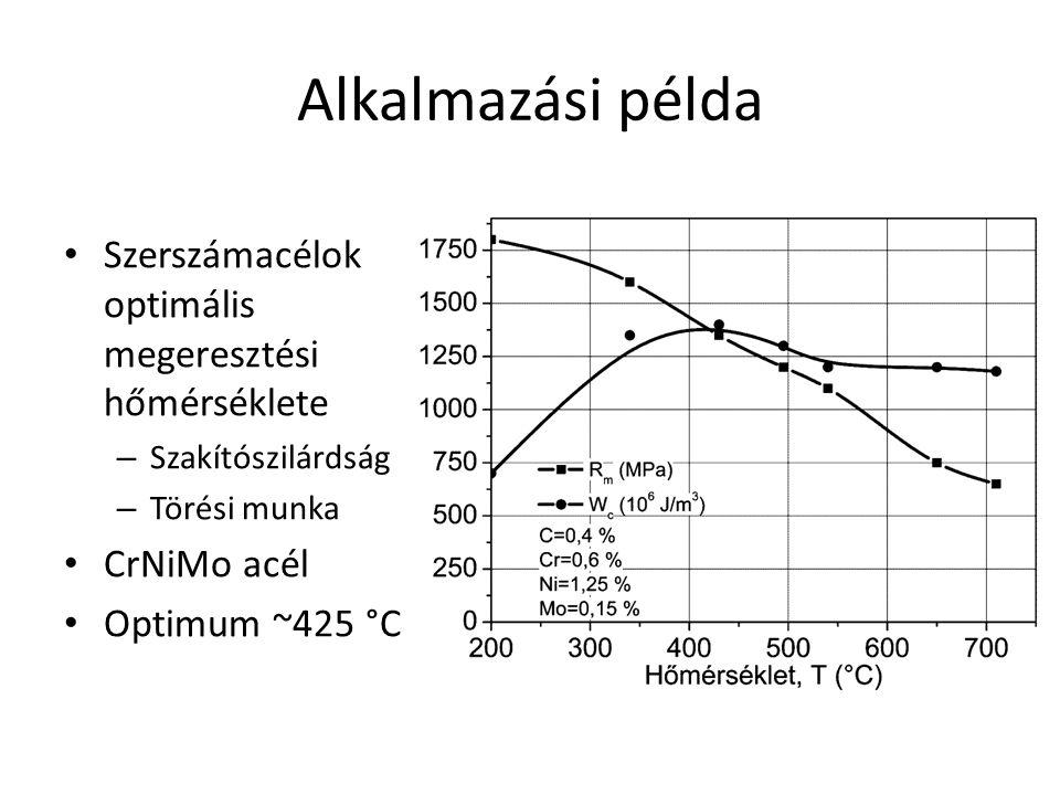 • Szerszámacélok optimális megeresztési hőmérséklete – Szakítószilárdság – Törési munka • CrNiMo acél • Optimum ~425 °C