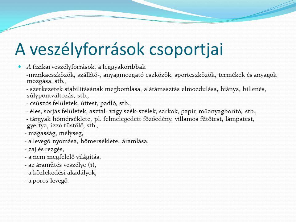 A veszélyforrások csoportjai  A fizikai veszélyforrások, a leggyakoribbak -munkaeszközök, szállító-, anyagmozgató eszközök, sporteszközök, termékek é