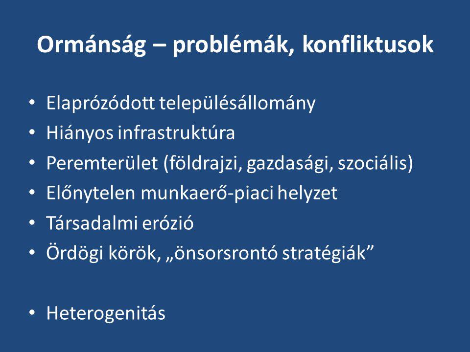 Vizsgálat: helyi közösségek állapota, a közösségfejlődés lehetőségei • A dezintegráltság okai: • Negatív migrációs trendek (elit-hiány, költözések) • Paternalizmus • Passzivitás, pesszimizmus, irigység, individualizáció • Bűnözés ― szegénység • Közösségi és információs pontok hiánya • Következmény: a válságkezelés hiányzó alapjai • Cél: pozitív példák, hatékony helyi stratégiák feltárása (interjúk a kulcsszereplőkkel 2006-tól)
