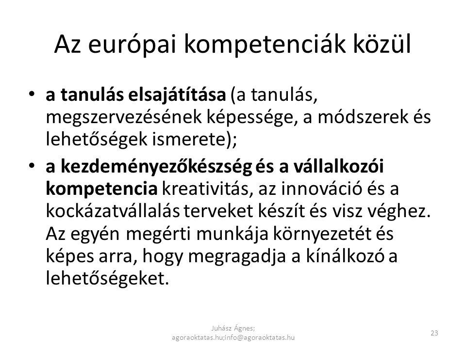 Az európai kompetenciák közül • a tanulás elsajátítása (a tanulás, megszervezésének képessége, a módszerek és lehetőségek ismerete); • a kezdeményezők