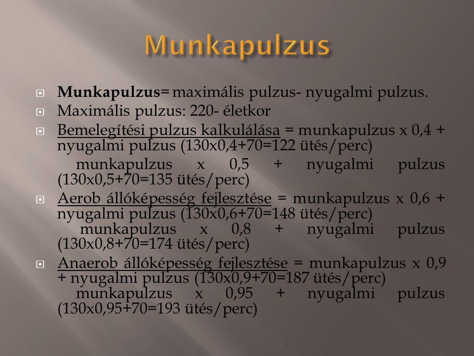  Munkapulzus = maximális pulzus- nyugalmi pulzus.