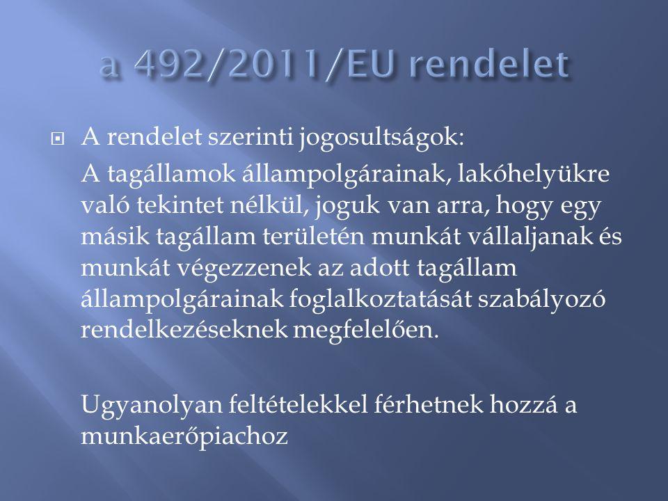  A rendelet szerinti jogosultságok: A tagállamok állampolgárainak, lakóhelyükre való tekintet nélkül, joguk van arra, hogy egy másik tagállam terület