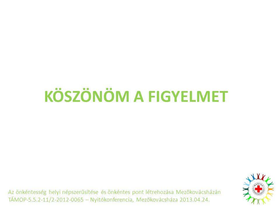 KÖSZÖNÖM A FIGYELMET Az önkéntesség helyi népszerűsítése és önkéntes pont létrehozása Mezőkovácsházán TÁMOP-5.5.2-11/2-2012-0065 – Nyitókonferencia, Mezőkovácsháza 2013.04.24.