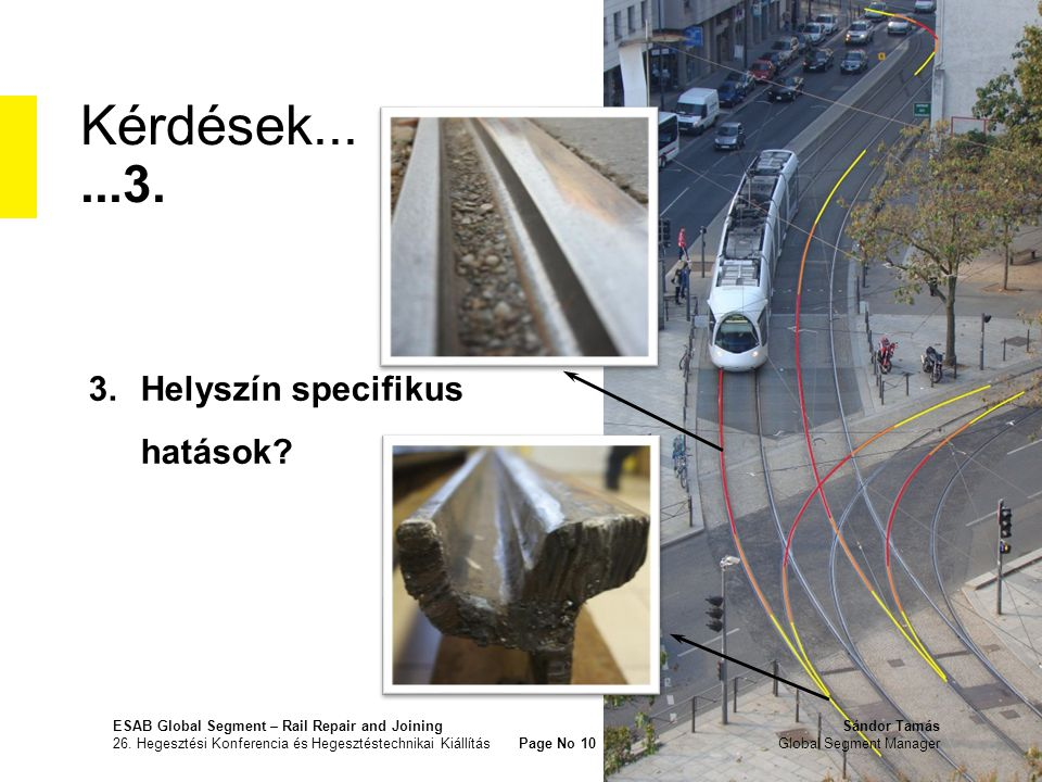 Kérdések......3. 3.Helyszín specifikus hatások? ESAB Global Segment – Rail Repair and JoiningSándor Tamás 26. Hegesztési Konferencia és Hegesztéstechn
