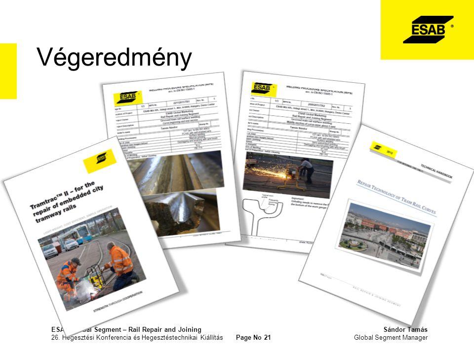 Végeredmény ESAB Global Segment – Rail Repair and JoiningSándor Tamás 26. Hegesztési Konferencia és Hegesztéstechnikai Kiállítás Page No 21 Global Seg