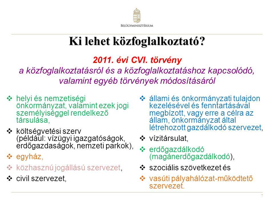 8 Közfoglalkoztatás keretében végezhető tevékenységek  a 2011.