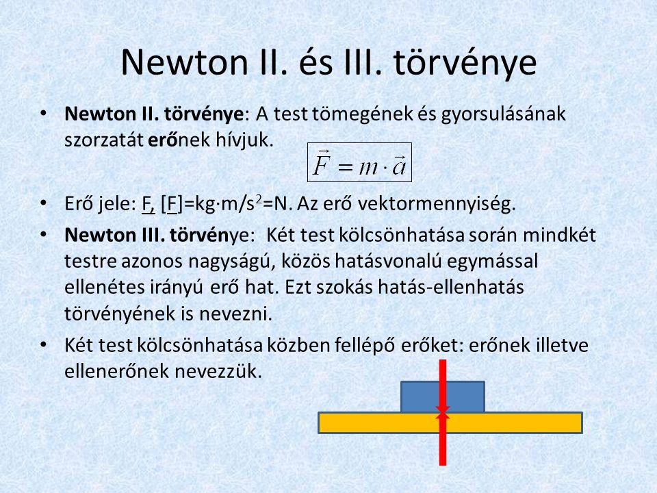 Newton II. és III. törvénye • Newton II. törvénye: A test tömegének és gyorsulásának szorzatát erőnek hívjuk. • Erő jele: F, [F]=kg·m/s 2 =N. Az erő v