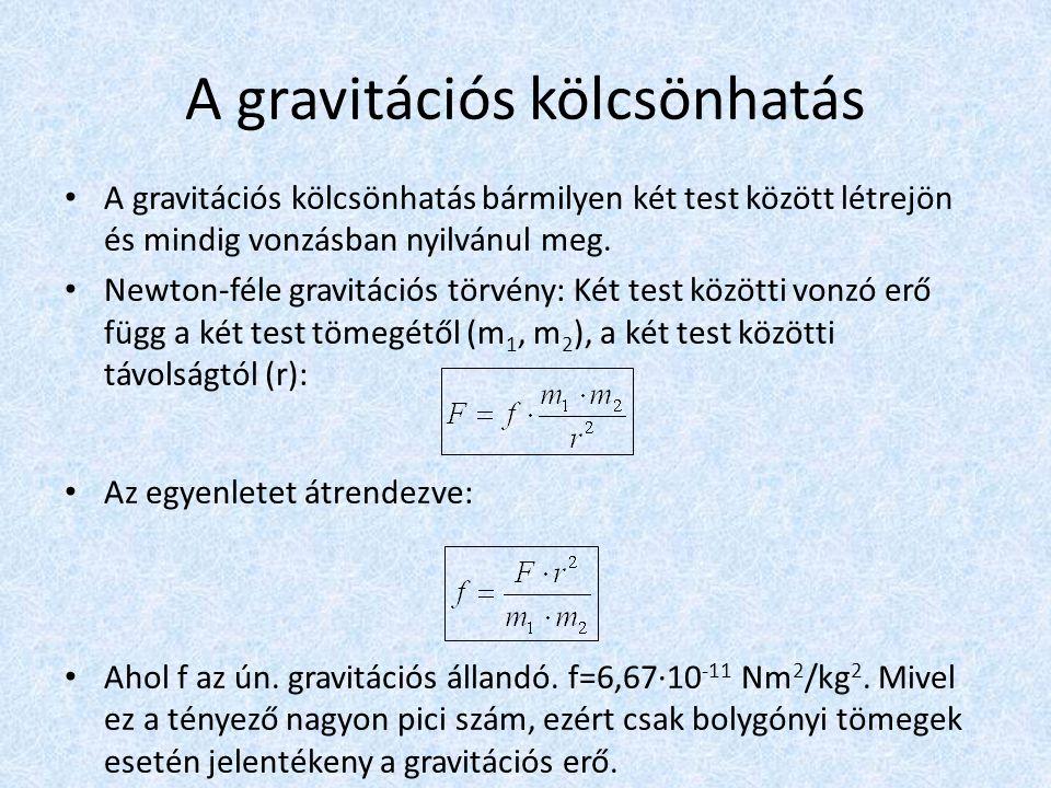 A gravitációs kölcsönhatás • A gravitációs kölcsönhatás bármilyen két test között létrejön és mindig vonzásban nyilvánul meg. • Newton-féle gravitáció