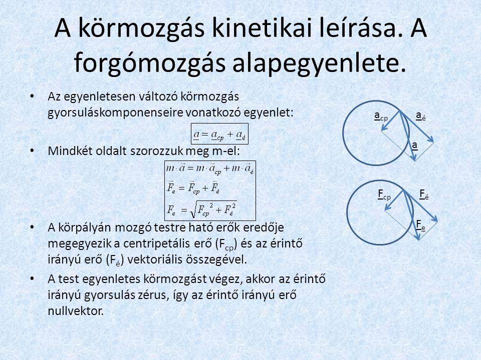A körmozgás kinetikai leírása. A forgómozgás alapegyenlete. • Az egyenletesen változó körmozgás gyorsuláskomponenseire vonatkozó egyenlet: • Mindkét o