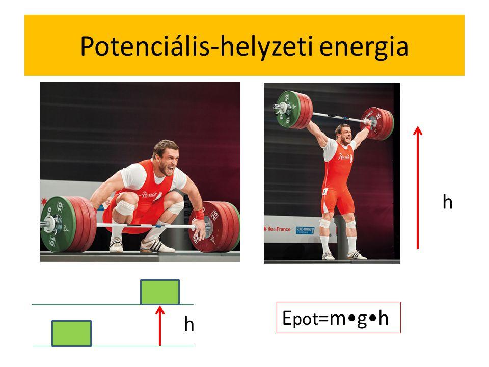 Sportoló teljesítménye (Tour de France – energiaigény – kalória – joule 410W felett gyanús, 450 watt felett szuperember Antonie Vayer) Pl súlyemelő: m=200 kg, t=0,2s h=1,6 m Epot=m•g•h=200•10•1,6=3200J P=W/t=3200J/0,2s=16000W Pl sprinter: m=94kg, v=12m/s, t=3s Ekin=½m•v 2 =½•94•12 2 =6768J P=W/t=6768/3=2256W