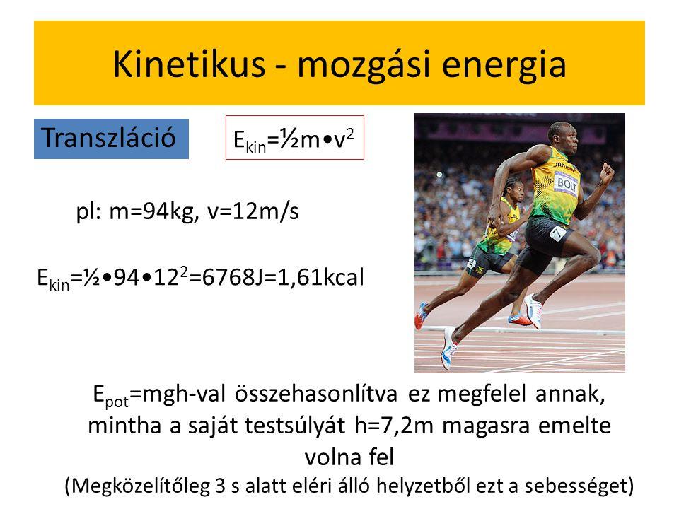 Kinetikus - mozgási energia Transzláció E kin = ½ m•v 2 pl: m=94kg, v=12m/s E kin =½•94•12 2 =6768J=1,61kcal E pot =mgh-val összehasonlítva ez megfelel annak, mintha a saját testsúlyát h=7,2m magasra emelte volna fel (Megközelítőleg 3 s alatt eléri álló helyzetből ezt a sebességet)