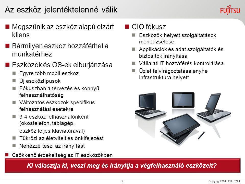 9 Copyright 2011 FUJITSU Az eszköz jelentéktelenné válik  Megszűnik az eszköz alapú elzárt kliens  Bármilyen eszköz hozzáférhet a munkatérhez  Eszk