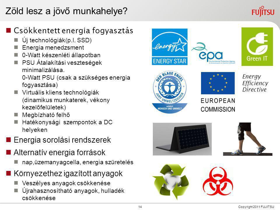 14 Copyright 2011 FUJITSU Zöld lesz a jövő munkahelye?  Csökkentett energia fogyasztás  Új technológiák(p.l. SSD)  Energia menedzsment  0-Watt kés
