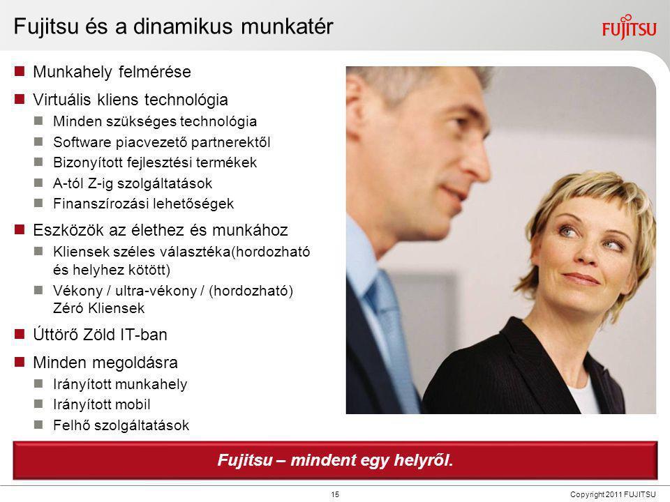 15 Copyright 2011 FUJITSU Fujitsu és a dinamikus munkatér  Munkahely felmérése  Virtuális kliens technológia  Minden szükséges technológia  Softwa