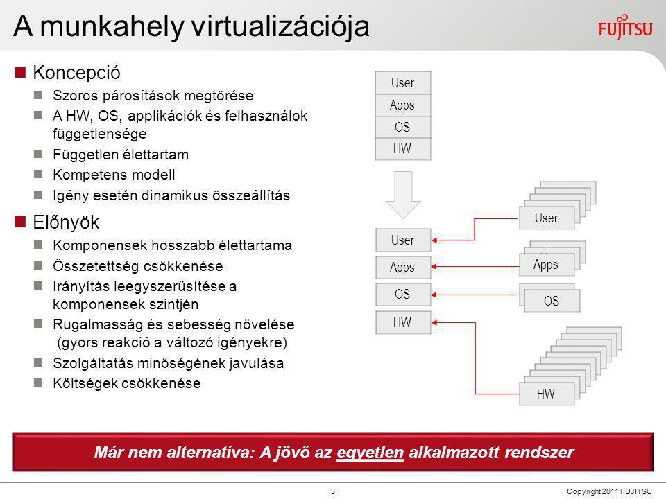 4 Copyright 2011 FUJITSU Front end to back end  Koncepció  Applikációk, vagy adatok, vagy teljes munkahely adatközpontok  Front-end eszközök csak hozzáférésre  (Vékony) endpoint HW  Munkahely átváltozik munkatérré  Előnyök  Rugalmas hozzáférés bármelyik eszközről  Egyszerűsített menedzsment  Magas elérhetőség/ katasztrófa utáni talpra állás  Biztonsági kockázatok minimalizálása  Felhasználó backup fölöslegessé válik  Teljesen megfelelő, audit-álló  Csökkentet energia fogyasztás és zaj (a hozzáférési eszköztől függően)  Költségcsökkenés Ön-menedzsment - luxus.