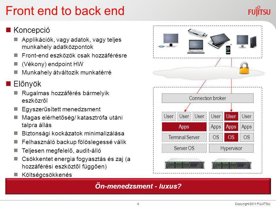 4 Copyright 2011 FUJITSU Front end to back end  Koncepció  Applikációk, vagy adatok, vagy teljes munkahely adatközpontok  Front-end eszközök csak h