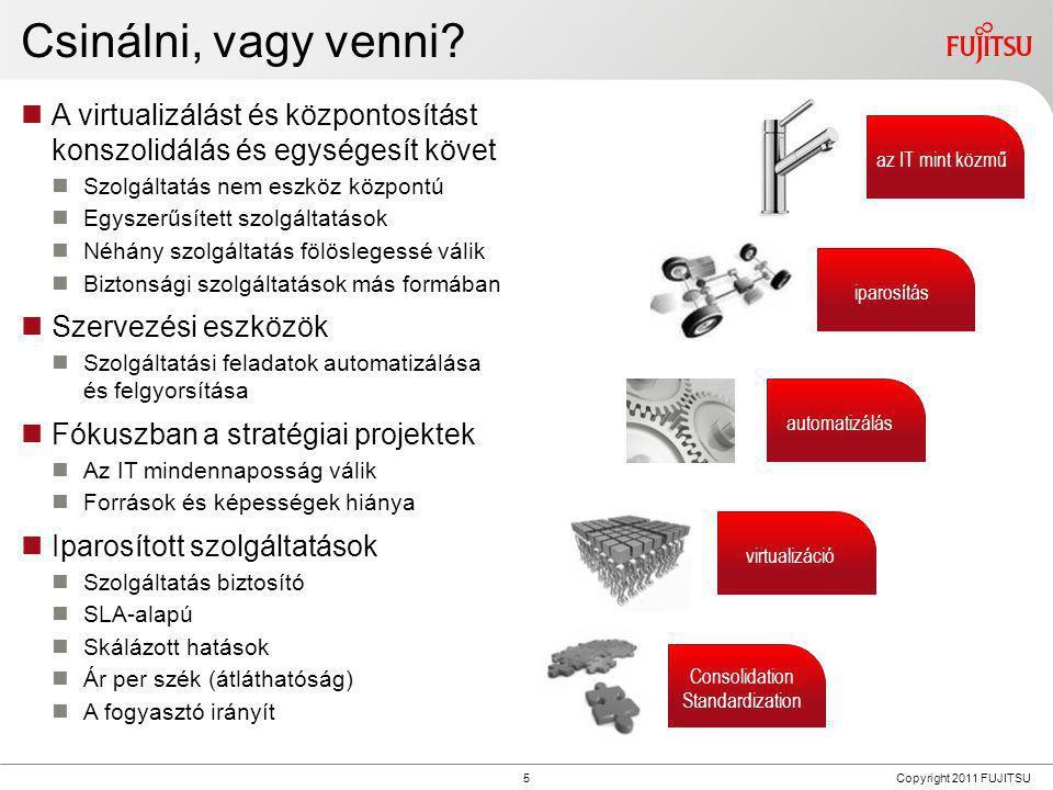 6 Copyright 2011 FUJITSU Felhő alapú rendszerek megkönnyítik az üzletet  Applikáció és munkatér (mint szolgáltatás)  Egységesített szolgáltatás  Virtualizáció mint lehetőség  Minden adat azonnal a felhőre mentve  Használat alapú fizetés  Előnyök  CAPEX-ről OPEX-re váltás  Költség csökkenés és átláthatóság  Nagy rugalmasság (fel- és le skálázás)  Új szolgáltatások gyors bevezetése  Kockázatmentesség (alacsony belépési határ, könnyű kilépés)  Mindig a legújabb technológia  Magas szolgáltatás minőség  Nincs befektetés infrastruktúrába és képességekbe  Felhő típusok  Magán felhő (házon belül, házon kívül)  Nyilvános és (biztonságos) megbízható felhő (megosztott infrastruktúra)  Hibrid felhő