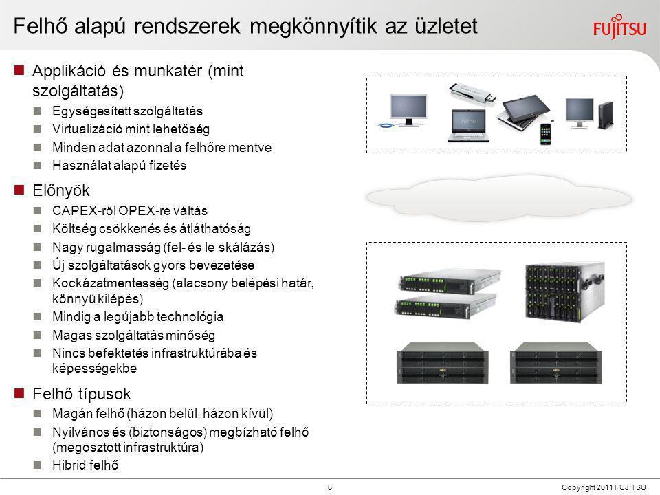 6 Copyright 2011 FUJITSU Felhő alapú rendszerek megkönnyítik az üzletet  Applikáció és munkatér (mint szolgáltatás)  Egységesített szolgáltatás  Vi