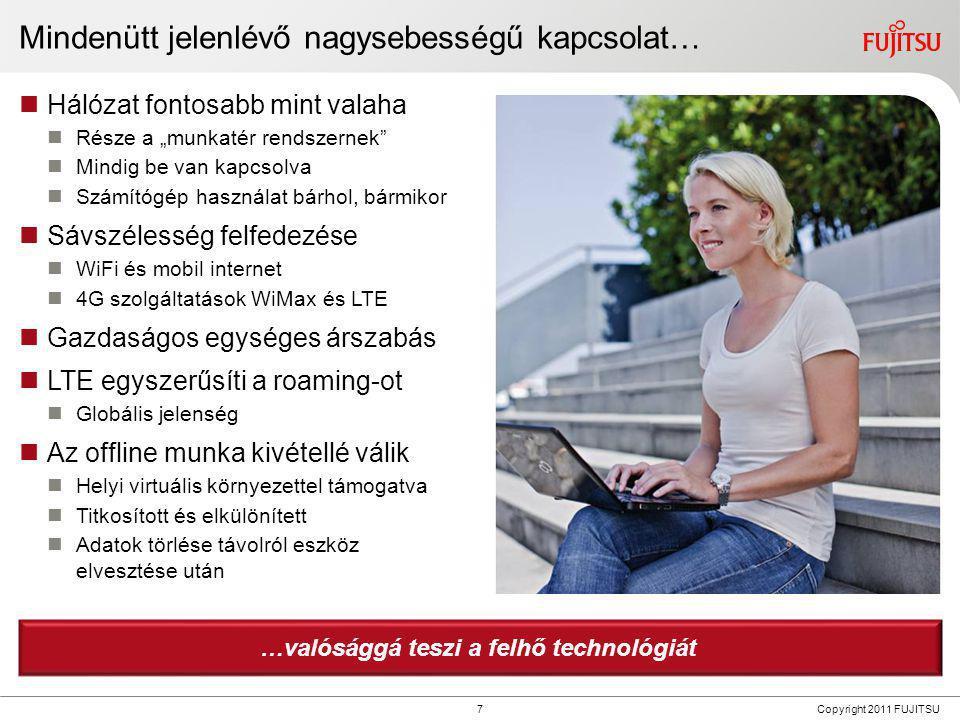 8 Copyright 2011 FUJITSU Dinamikus munkatér  Személyes felhő minden felhasználónak  Online szolgáltatások és személyes eszközök készlete  Önkiszolgálás  Bejelentkezésnél jön létre  Kijelentkezés után megszűnik  Kontextus tudatos szűrők  Autorizáció irányítása  Hely, eszköz, hozzáférés ideje  A munkatér tartalmának dinamikus bemutatása  Vállalati biztonsági irányelvek szerint Mi az eszköz igény.